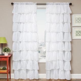 Shaina White Rod Pocket Curtain Panel