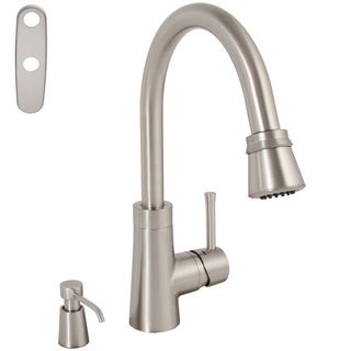 Essen Single-handle Brushed Nickel Pull-down Kitchen Faucet with Soap Dispenser