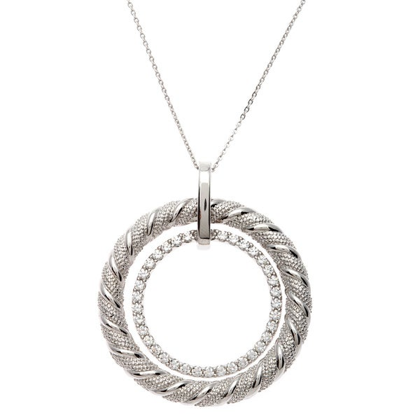 Sterling Silver Cubic Zirconia Double Circle Pendant Necklace