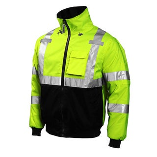 Bomber Fluorescent Yellow/ Green/ Black Attached Hood Safety Jacket