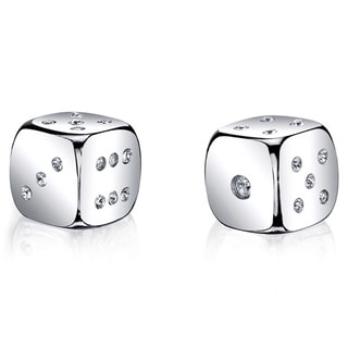 Silver Dice Set with Silver Swarovski Crystal