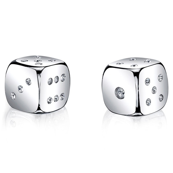 Silver Dice Set with Silver Swarovski Crystal
