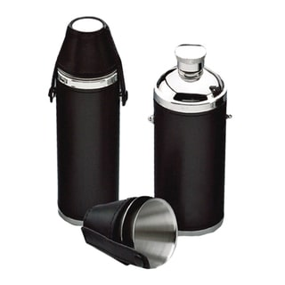 Stainless Steel Black Hunter's 10-ounce Flask