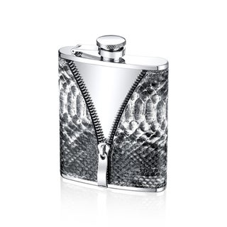 Stainless Steel 6-ounce Snake Leather Sleeve Flask