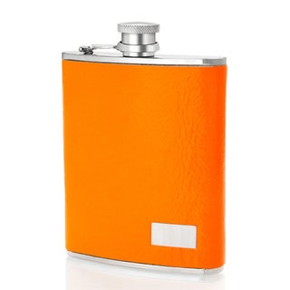 Stainless Steel 6-ounce Orange Neon Italian Leather Sleeve Flask