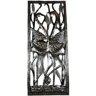 Two Cranes through Window Metal Art (Haiti)