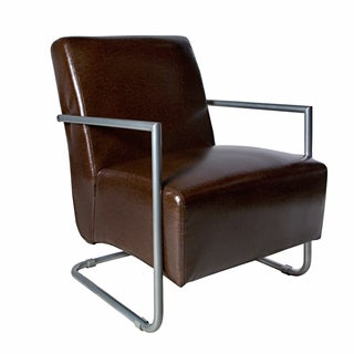 angelo:HOME Roscoe Chair in Chocolate Caramel Brown Renu Leather with Silver Frame