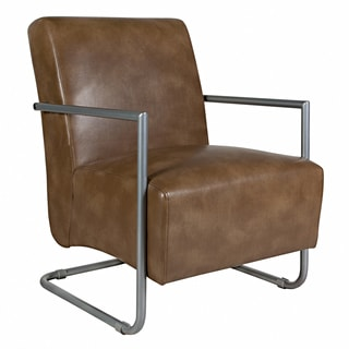 angelo:HOME Roscoe Milk Chocolate Brown Renu Leather Chair with Silver Frame