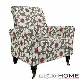 angelo:HOME Harlow Gray Sky Modern Flower Arm Chair