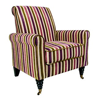 angelo:HOME Harlow Modern Vintage Plum and Green Stripe Arm Chair