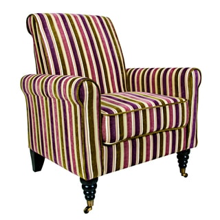 Portfolio Hyde Plum and Green Stripe Arm Chair