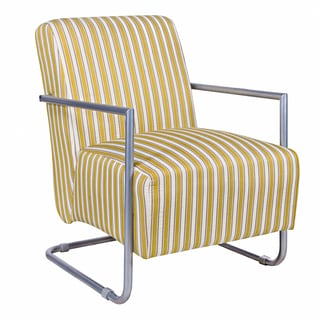 angelo:HOME Roscoe Chair in Cottage Stripe Marigold Yellow with Silver Frame