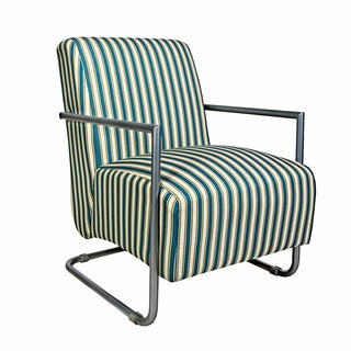 angelo:HOME Roscoe Chair in Cottage Stripe Turquoise Blue with Silver Frame