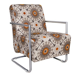 Portfolio Rippa Brown Circles Chair with Silver Frame