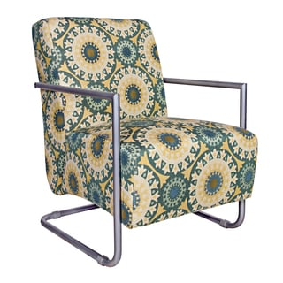 angelo:HOME Roscoe Chair in Turquoise Garden Wheel with Silver Frame