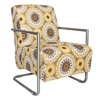 angelo:HOME Roscoe Chair in Golden Yellow Garden Wheel with Silver Frame