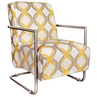 angelo:HOME Roscoe Chair in Modern Deco Yellow-Taupe Tilework with Silver Frame