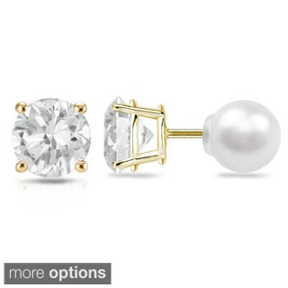 Auriya 14k Gold 3/4ct TDW Reversible Diamond Stud Freshwater Pearl Earrings (H-I, VS1-VS2) (6.3 mm)