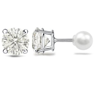Auriya Platinum 1 1/2ct TDW Reversible Hearts and Arrows Diamond Stud Pearl Earrings (J-K, SI1-SI2) (6.3 mm)