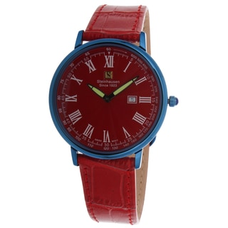 Steinhausen Men's Ultra-thin Swiss Quartz Dunn Horitzon Red Dial Watch