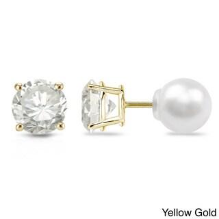 Auriya 14k Gold 1/4ct TDW Reversible Diamond/Pearl Stud Earrings (H-I, VS1-VS2)