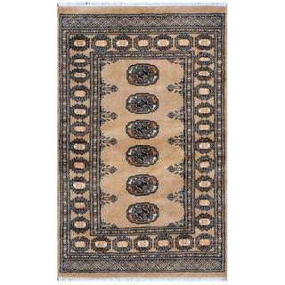 Pakistani Hand-knotted Bokhara Tan/ Black Wool Rug (2'7 x 4')