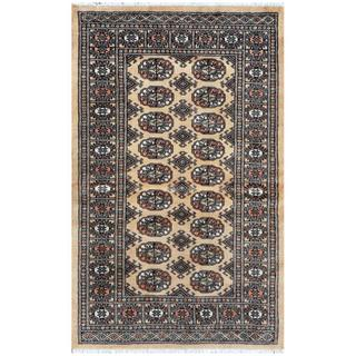 Pakistani Hand-knotted Bokhara Tan/ Black Wool Rug (3'2 x 5')