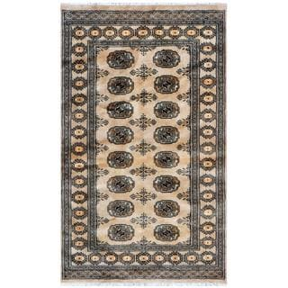 Pakistani Hand-knotted Bokhara Tan/ Black Wool Rug (3' x 5')