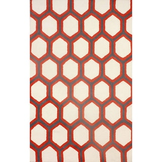 nuLOOM Hand-tufted Trellis Wool Red Rug (8' 6 x 11' 6 )