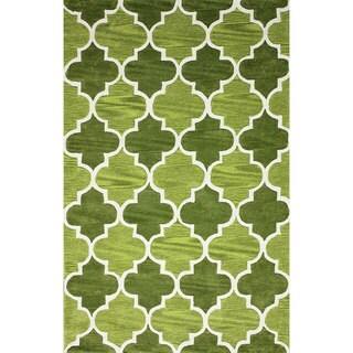nuLOOM Hand-tufted Moroccan Trellis Green Rug (7' 6 x 9' 6)