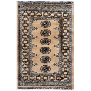 Pakistani Hand-knotted Bokhara Tan/ Black Wool Rug (2'8 x 4')
