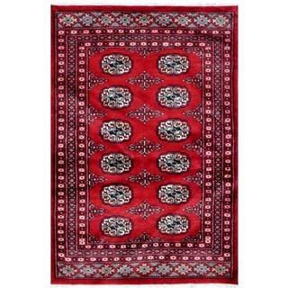 Pakistani Hand-knotted Bokhara Red/ Ivory Wool Rug (2'7 x 3'10)