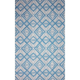 nuLOOM Hand-hooked Indoor/ Outdoor Light Blue Rug (7' 6 x 9' 6)