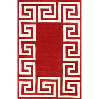 nuLOOM Hand-tufted Greek Key Border Wool Red Rug (8' 6 x 11' 6)