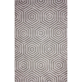nuLOOM Hand-tufted Trellis Wool Grey Rug (8' 6 x 11' 6 )