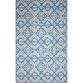 nuLOOM Hand-hooked Indoor/ Outdoor Light Blue Rug (5' x 8')