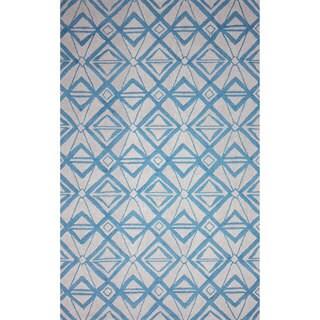 nuLOOM Hand-hooked Indoor/ Outdoor Light Blue Rug (5' x 8')