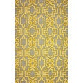 nuLOOM Hand-tufted Trellis Wool Yellow Rug (5' x 8')