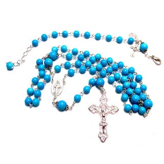 Bright Blue Glass Bead Rosary and Bracelet Set