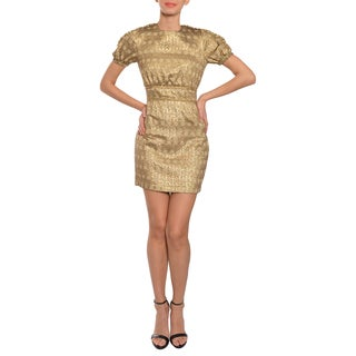 Cynthia Rowley Women's Gold Silk Jacquard Cocktail Dress