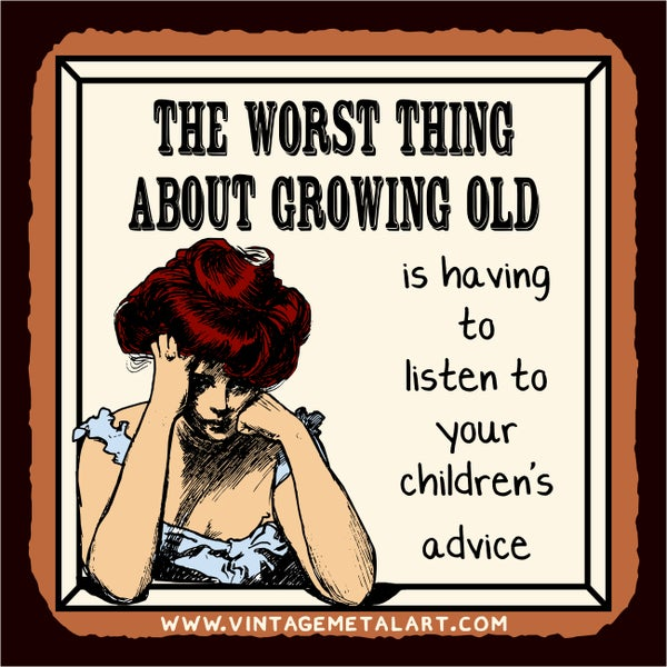R. Lawrence 'The Worst Thing About Growing Old' Vintage Mini Tin Sign