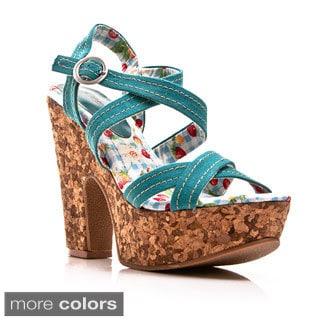Gomax Women's 'Jackie'O 08' Strappy Cork Heel Demi Wedge Sandals