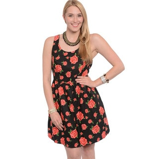 Feellib Women's Black Floral Print Fit-and-flare Dress