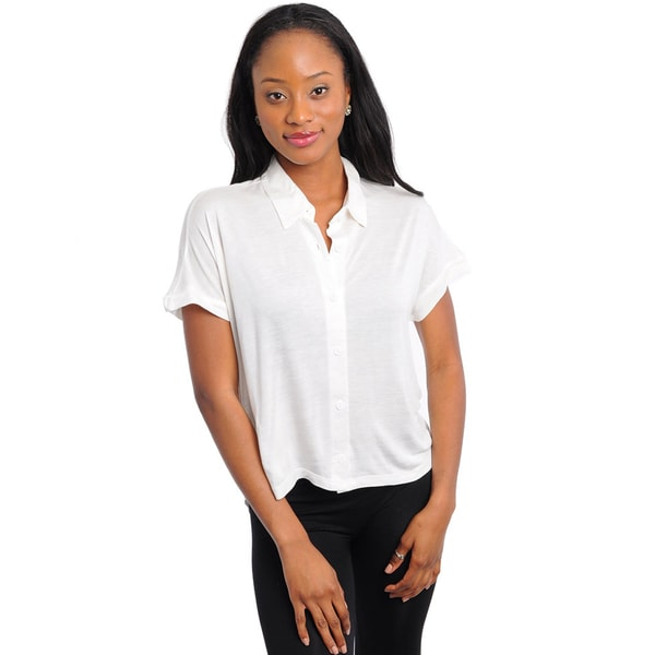 Shop The Trends Women's Ivory Collared Knit Top