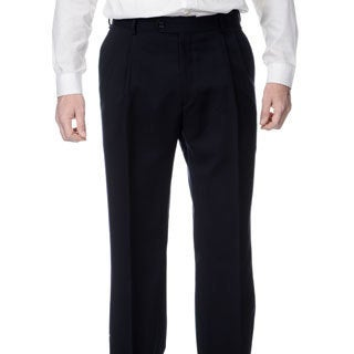 Henry Grethel Men's Navy Stretch Waist Pleated Front Pants
