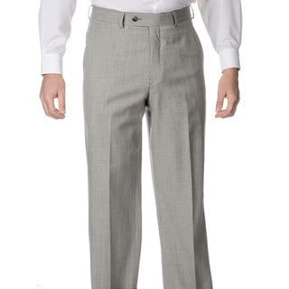 Henry Grethel Men's Grey Stretch Waist Flat Front Pants