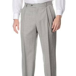 Henry Grethel Men's Big & Tall Grey Stretch Waist Pleated Front Suit Separate Pants