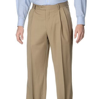Henry Grethel Men's Tan Stretch Waist Pleated Front Pants