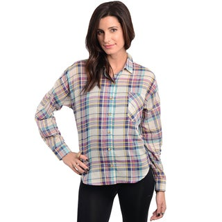 Feellib Women's Jade and Pink Plaid Button-down Shirt