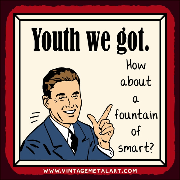 R. Lawrence 'How About A Fountain of Smart' Mini Vintage Tin Sign
